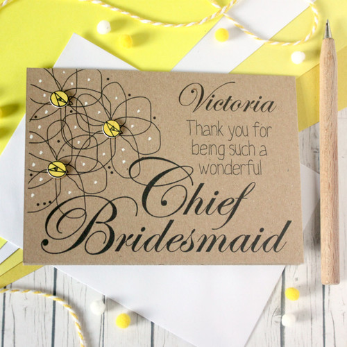 Personalised Chief Bridesmaid Card. Personalised Chief Bridesmaid Thank You Card. Thank You for being my Chief Bridesmaid. Chief Bridesmaid Thanks. Chief Bridesmaid Card. Chief Bridesmaid.