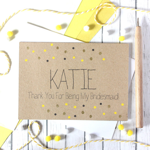 Personalised Bridesmaid Card. Bridesmaid Thank You Card. Thank You for being my Bridesmaid. Bridesmaid Thanks. Bridesmaid Card.
