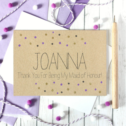 Personalised Maid of Honour Card. Maid of Honor Thank You Card. Thank You for being my Maid of Honour. Maid of Honor Thanks.