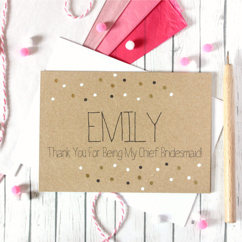 Personalised Chief Bridesmaid Card. Chief Bridesmaid Thank You Card. Thank You for being my Chief Bridesmaid. Chief Bridesmaid Thanks.