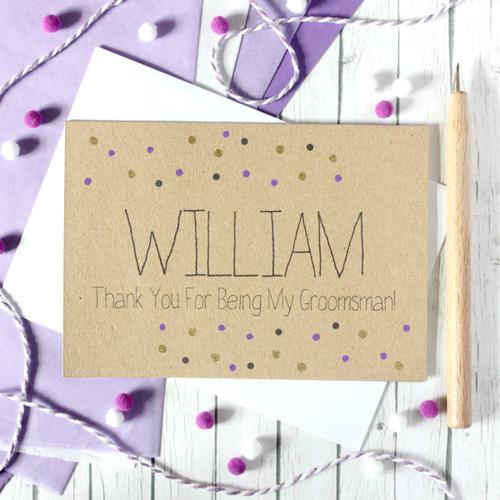 Personalised Groomsman Card. Groomsman. Thanks for Being My Groomsman. Groomsman Thanks. Groomsmen Thank You Card. Groomsman Wedding Card.