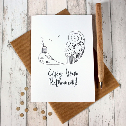 Retirement Card. Retirement Cards. Enjoy Your Retirement. Cabin in the Woods. Hand Drawn Illustration. Illustration. Black and White. B&W.