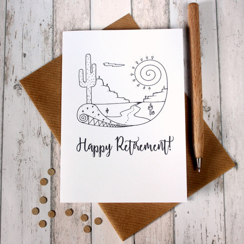Retirement Card. Retirement Cards. Happy Retirement. Into the Sunset. Hand Drawn Illustration. Illustration. Black and White. B&W. Card