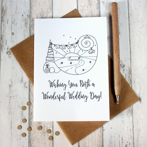 Wedding Day Card. Wedding Card. Wedding Day Cards. Wedding Cards. Wishing You Both a Wonderful Wedding Day. Hand Drawn Illustration. Cards.