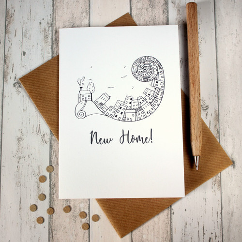 New Home Card. Moving House Card. Moving Home Card. New Home Cards. New Home. Hand Drawn Illustration. Illustration. Black and White. Cards