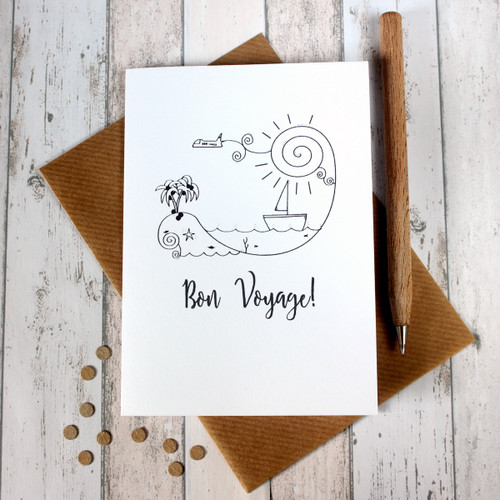 Bon Voyage Card. Goodbye Card. Bon Voyage Cards. Goodbye Cards. Leaving Card. Leaving Cards. Hand Drawn Illustration. Black and White. B&W.