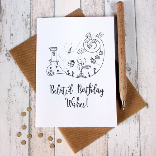 Belated Birthday Card. Happy Belated Birthday Cards. Happy Belated Birthday. Hand Drawn Illustration. Illustration. Black and White. Cards
