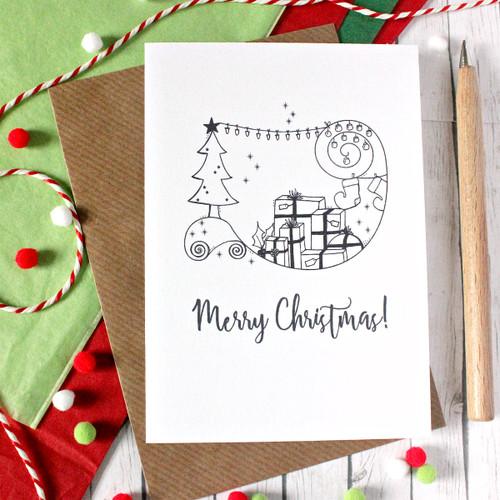 Christmas Tree Card. Christmas Card. Merry Christmas. Christmas Presents. Holiday Card. Holiday Cards. Black and White. Christmas Cards.
