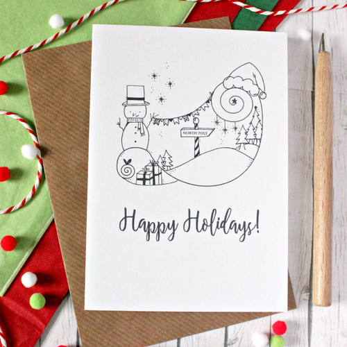Snowman Card. Christmas Card. North Pole Card. Merry Christmas. Happy Holidays. Holiday Card. Holiday Cards. Christmas Cards. Santa Hat.