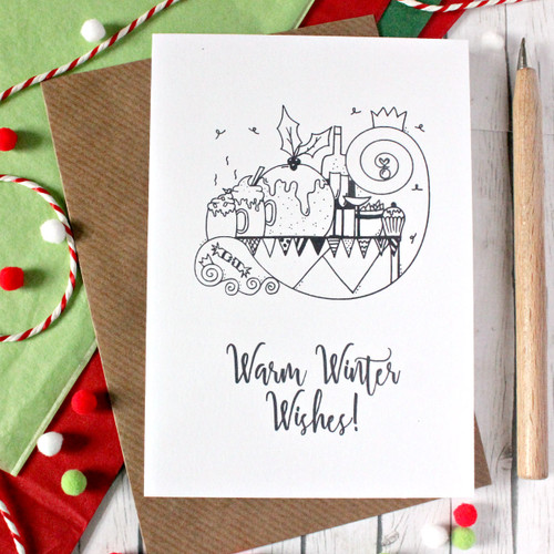 Christmas Card. Christmas Pudding. Christmas Dinner. Warm Winter Wishes. Holiday Card. Holiday Cards. Black and White. Christmas Cards