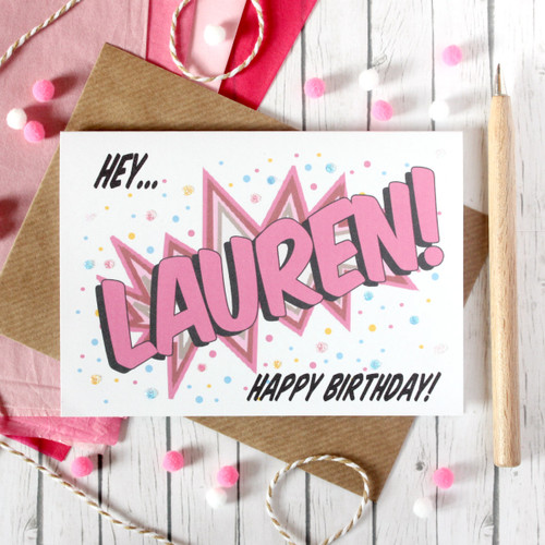 Personalised Birthday Card. Birthday Card. Happy Birthday Card. Happy Birthday. Personalised Card. Pop Art Card. Comic Book Card. Colourful