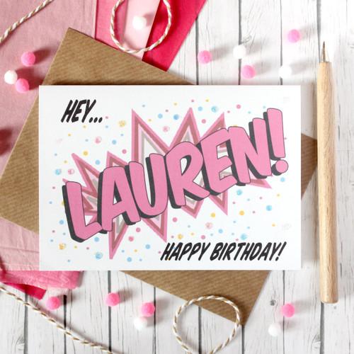 Personalised Birthday Card. Birthday Card. Happy Birthday Card. Happy Birthday. Personalised Card. Pop Art Card. Comic Book Card. Colourful