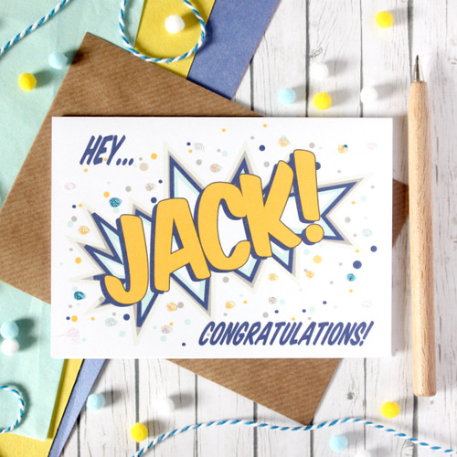 Personalised Congratulations Card. Congratulations Card. Congratulations. Personalised Card. Pop Art Card. Comic Book Card. Congrats Card.