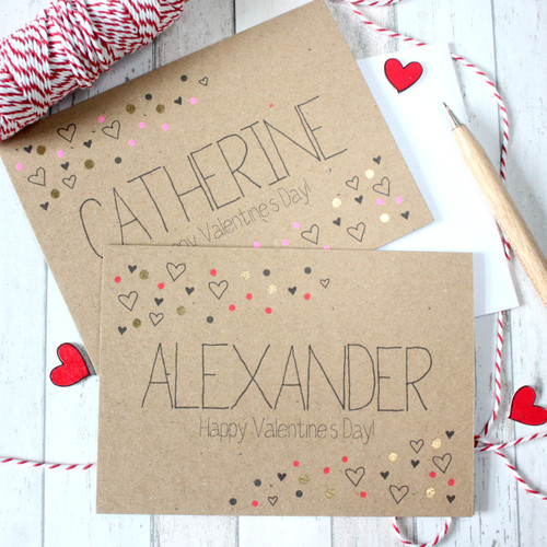 Personalised Valentines Card. Valentine. Happy Valentine's Day. Personalised Valentine. Handmade Card. Gold Dots. Kraft Card. Gold Card.