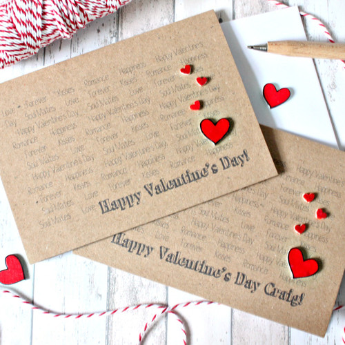 Personalised Valentines Card. Valentine. Love Heart. Happy Valentine's Day. Personalised Valentine. Handmade Card. Red Heart. Love Heart.