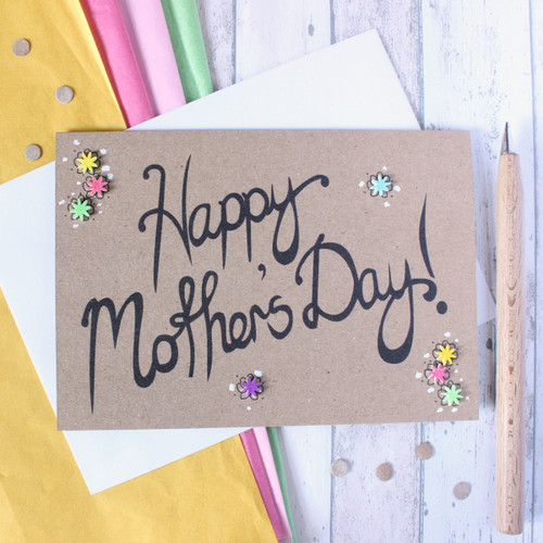 Happy Mothers Day. Mothers Day Card. Happy Mothers Day UK. Mothers Day Mum. Mothers Day Grandma. Hand Lettered Card. Mothers Day Card UK