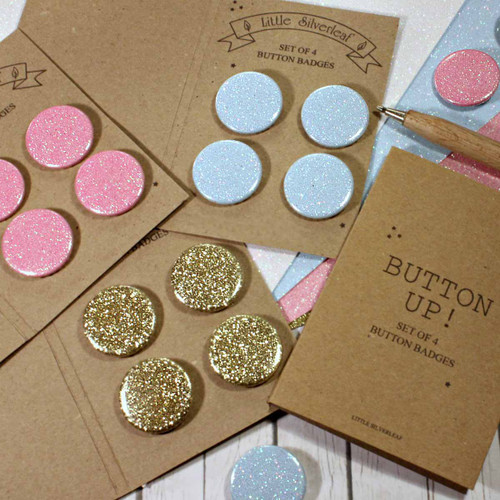 Glitter Badge Set of 4