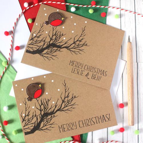 Christmas - Personalised Christmas Card, with Handmade Robin Embellishment