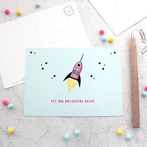 Happy Mail Positive Postcards - Let the Adventure Begin! Spaceship Glitter Accented Postcards