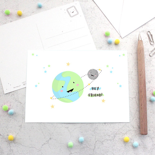 Hey Friend! Kawaii Planet Earth and Moon Glitter Postcard