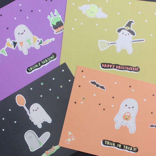 Halloween Glitter Postcards