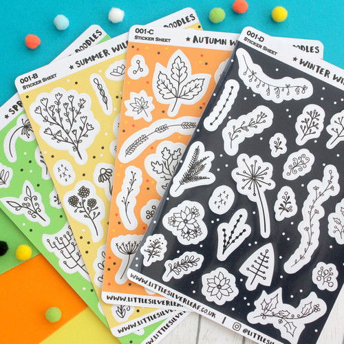 Seasonal Wildflower Doodles Sticker Sheet Pack - Spring, Summer, Autumn, & Winter Stickers