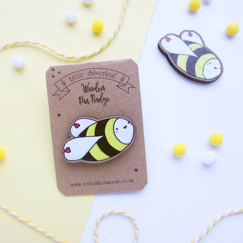 Cute Kawaii Bumble Bee Wooden Pin Badge
