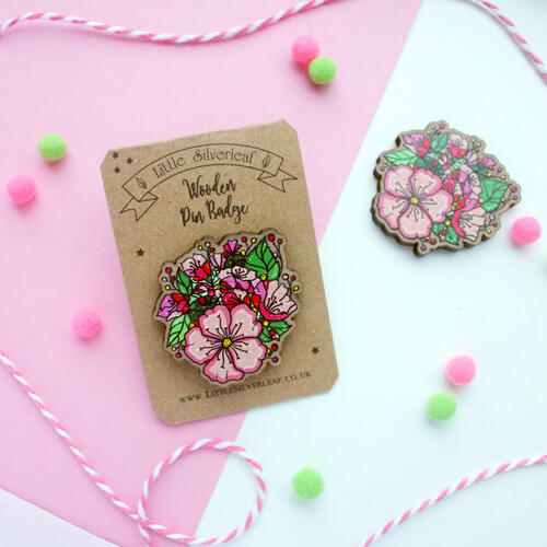 Pink Floral Bouquet Wooden Pin Badge