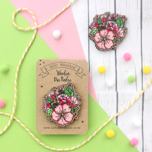 Cute Floral Pin Badge