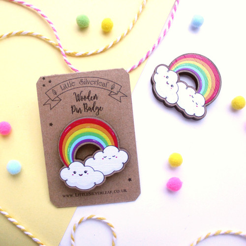 Rainbow Wooden Pin Badge with Cute Kawaii Clouds