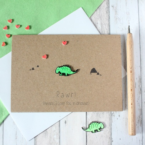 Anniversary Card. Engagement Card. Wedding Card. Dinosaur Card. Rawr. I love you in Dinosaur. Handmade Card. Valentines Card. Valentines.