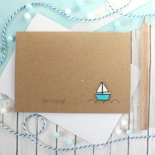 Bon Voyage - Personalised Sail Boat Card