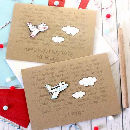 Bon Voyage Card. Handmade Bon Voyage Card. Goodbye Card. Leaving Card. Aeroplane. Airplane. Card for traveler. Gap Year Card. Flight. Plane.