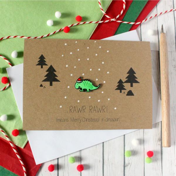 Dinosaur Christmas.Christmas Rawr Merry Christmas Festive Dinosaur Card