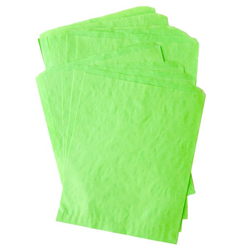 Pinch Bottom Paper Bags Large Lime Green 12 x 15 inches