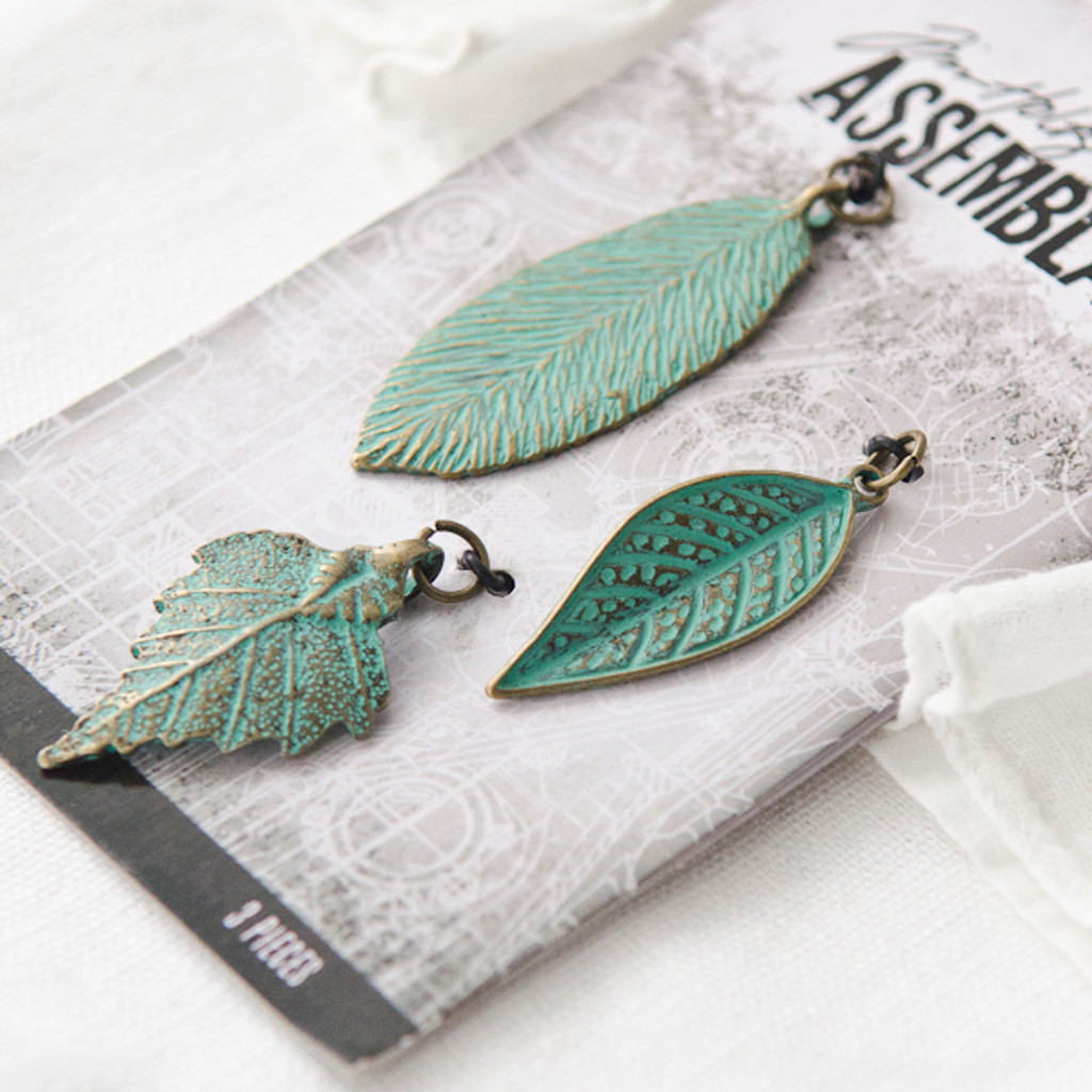 Tim Holtz Assemblage Charms - Patina Leaves
