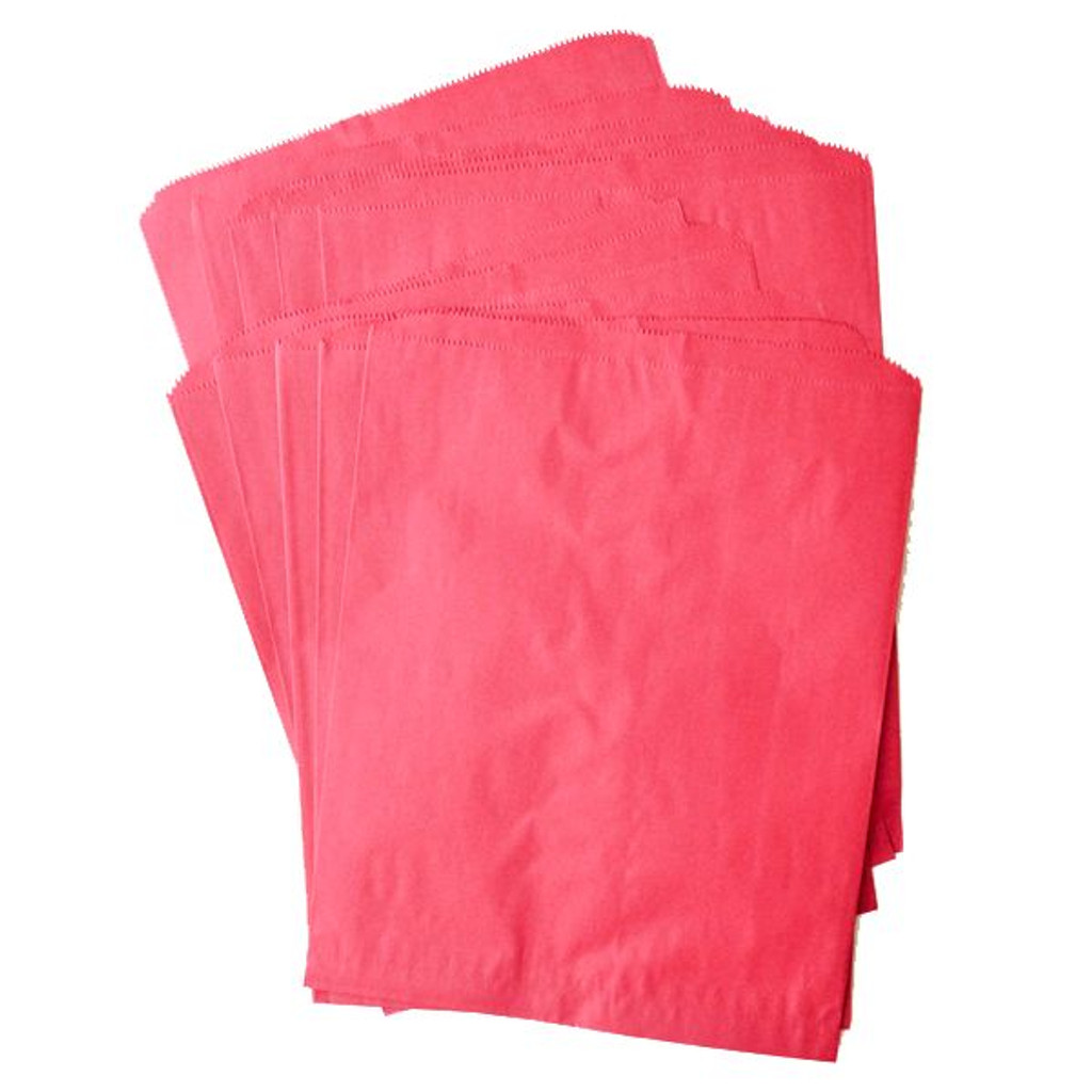 Pinch Bottom Paper Bags Large Red 12 x 15 inches