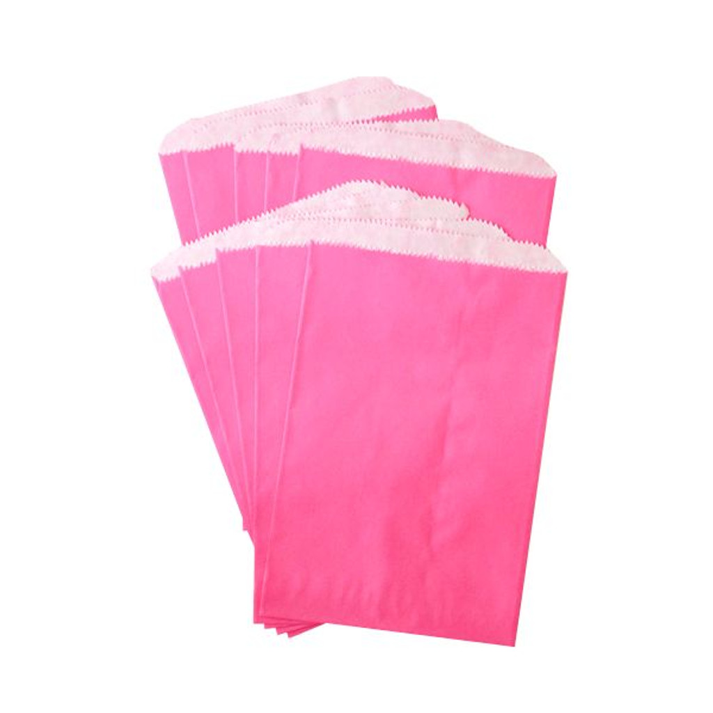Pinch Bottom Paper Bags Medium Magenta 6 x 9 inches