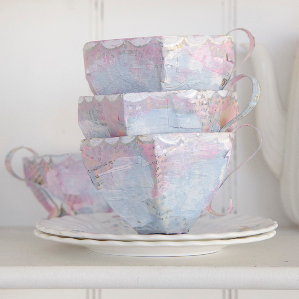 Papier-Mâché Teacups Two Ways Project by Catherine Garmany