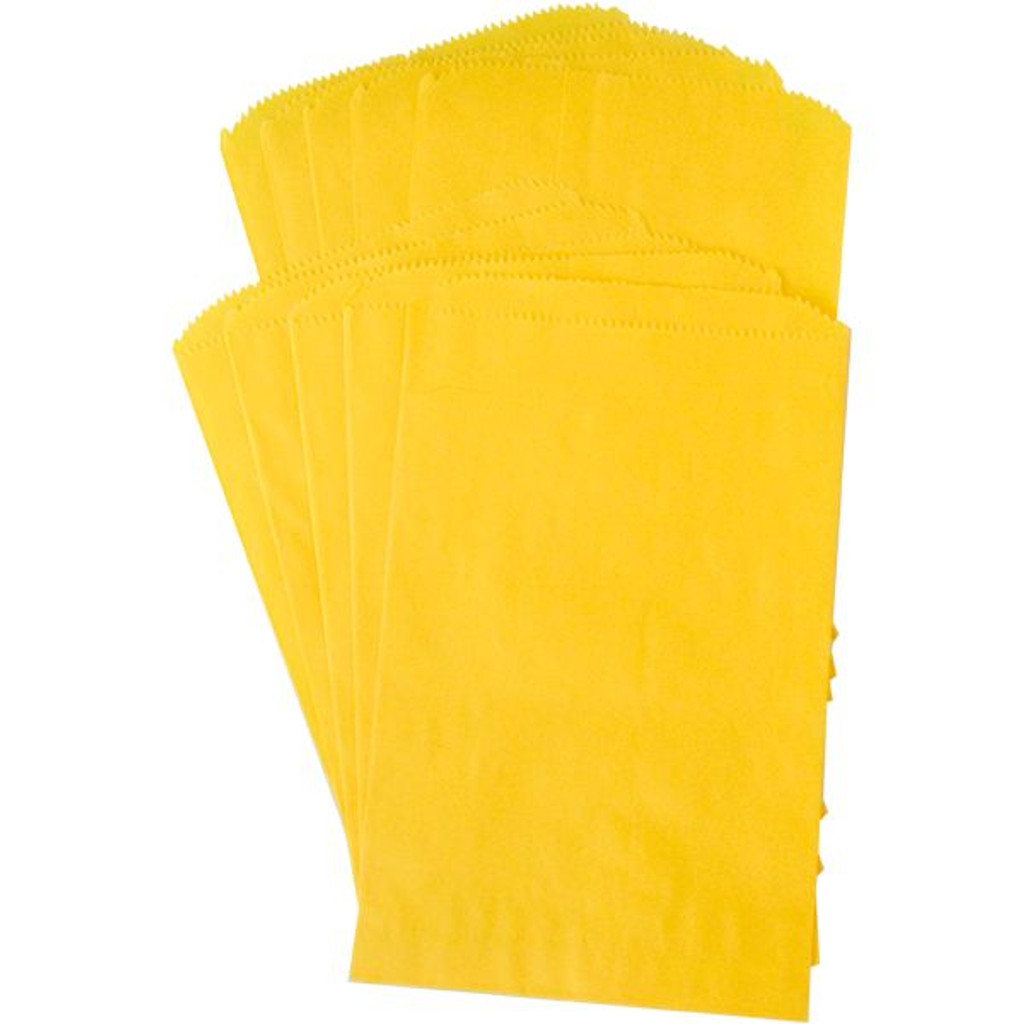 Pinch Bottom Paper Bags Medium Yellow 6 x 9 inches