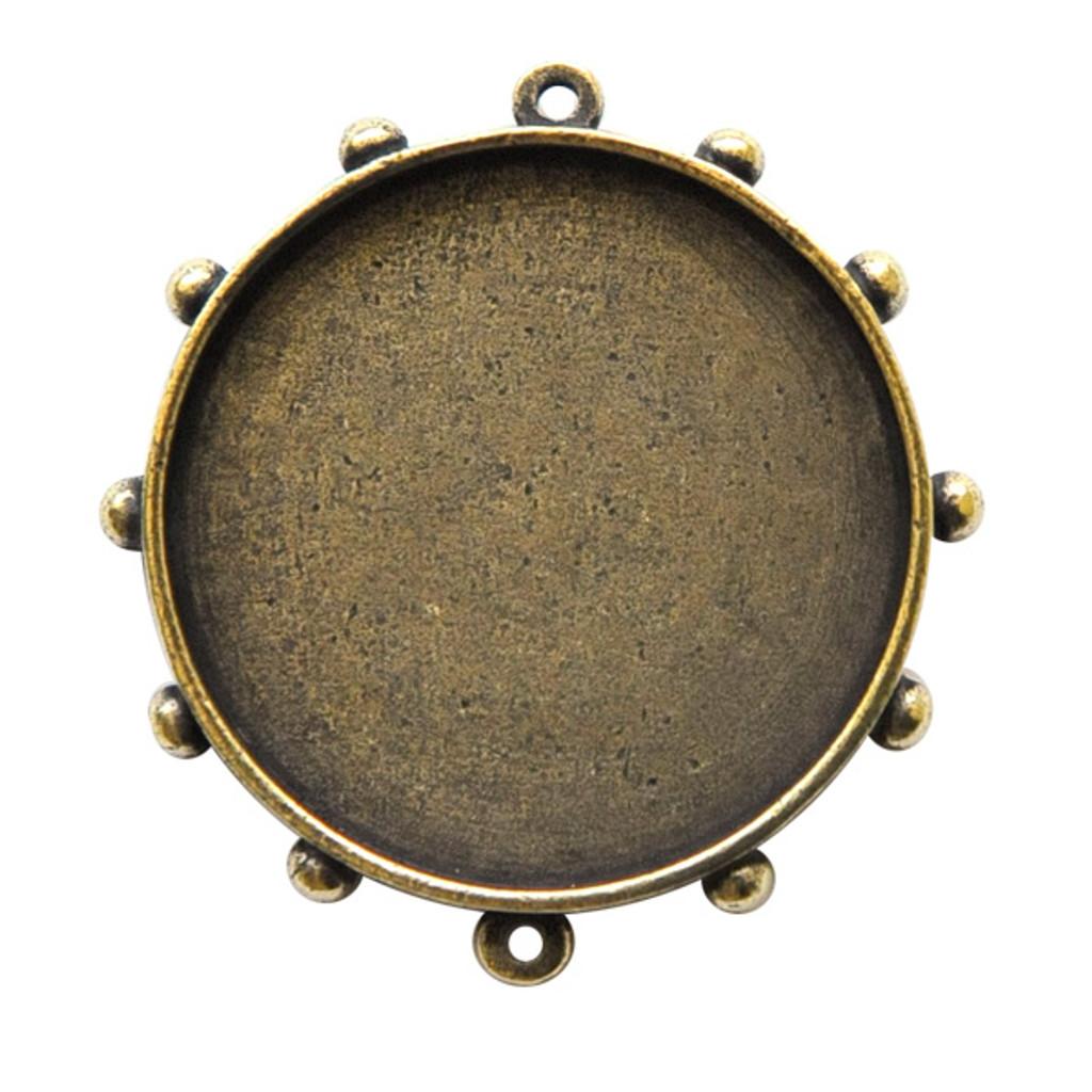 Ice Resin Hobnail Round Bezel Brass