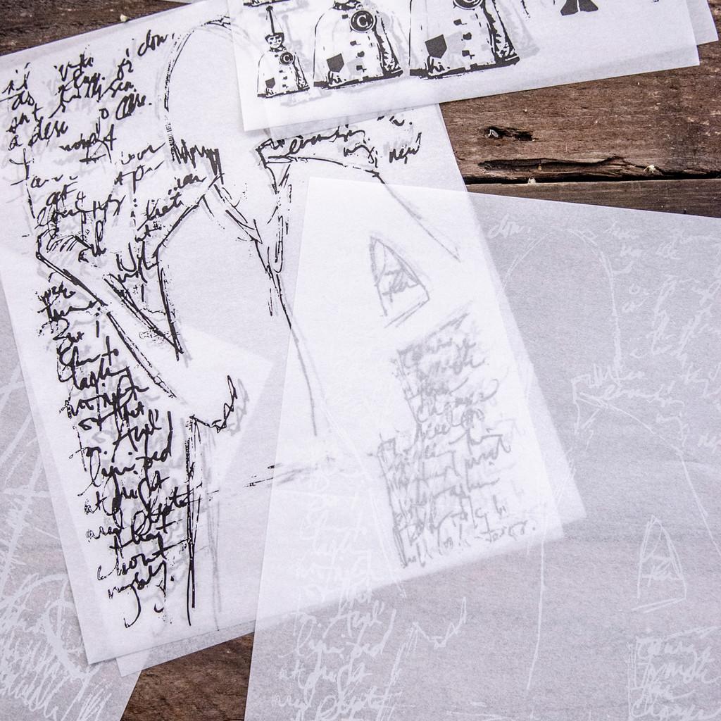 Dina Wakley Media Collage Paper Vintage Sketches