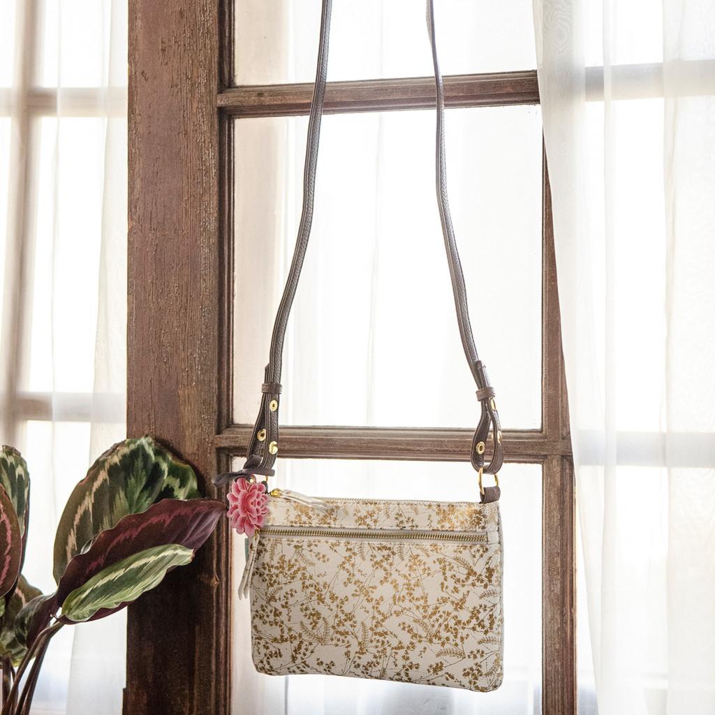 Gilded Flowers Crossbody Bag by Papaya Art