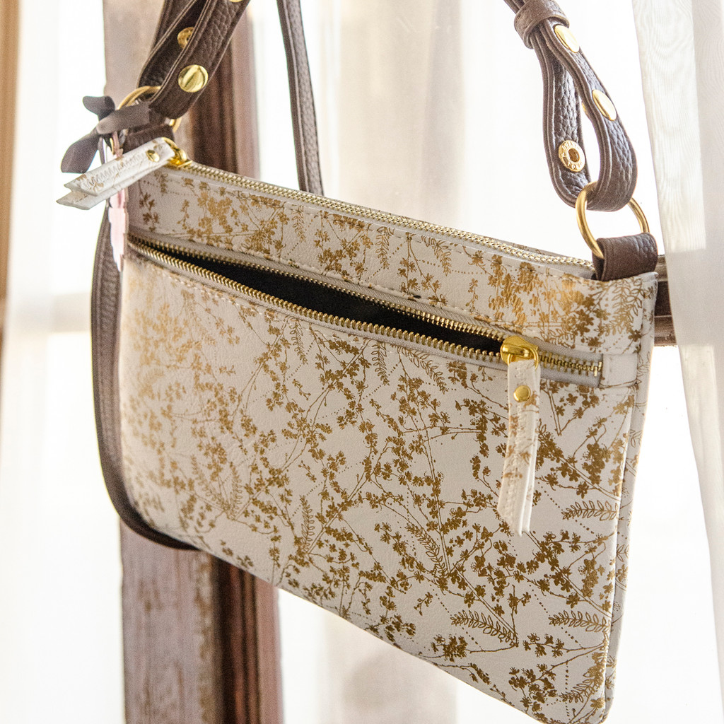 Gilded Flowers Crossbody Bag by Papaya Art
