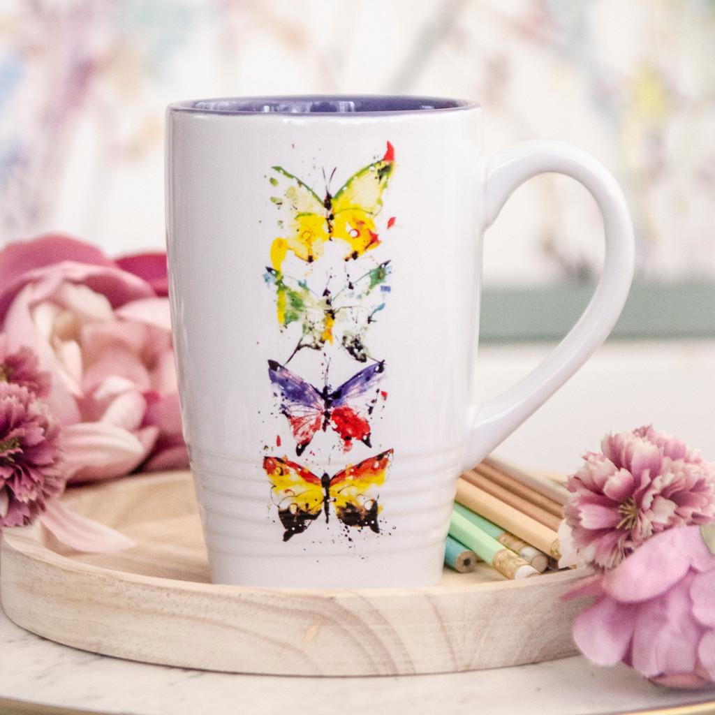 Four Butterflies Latte Mug