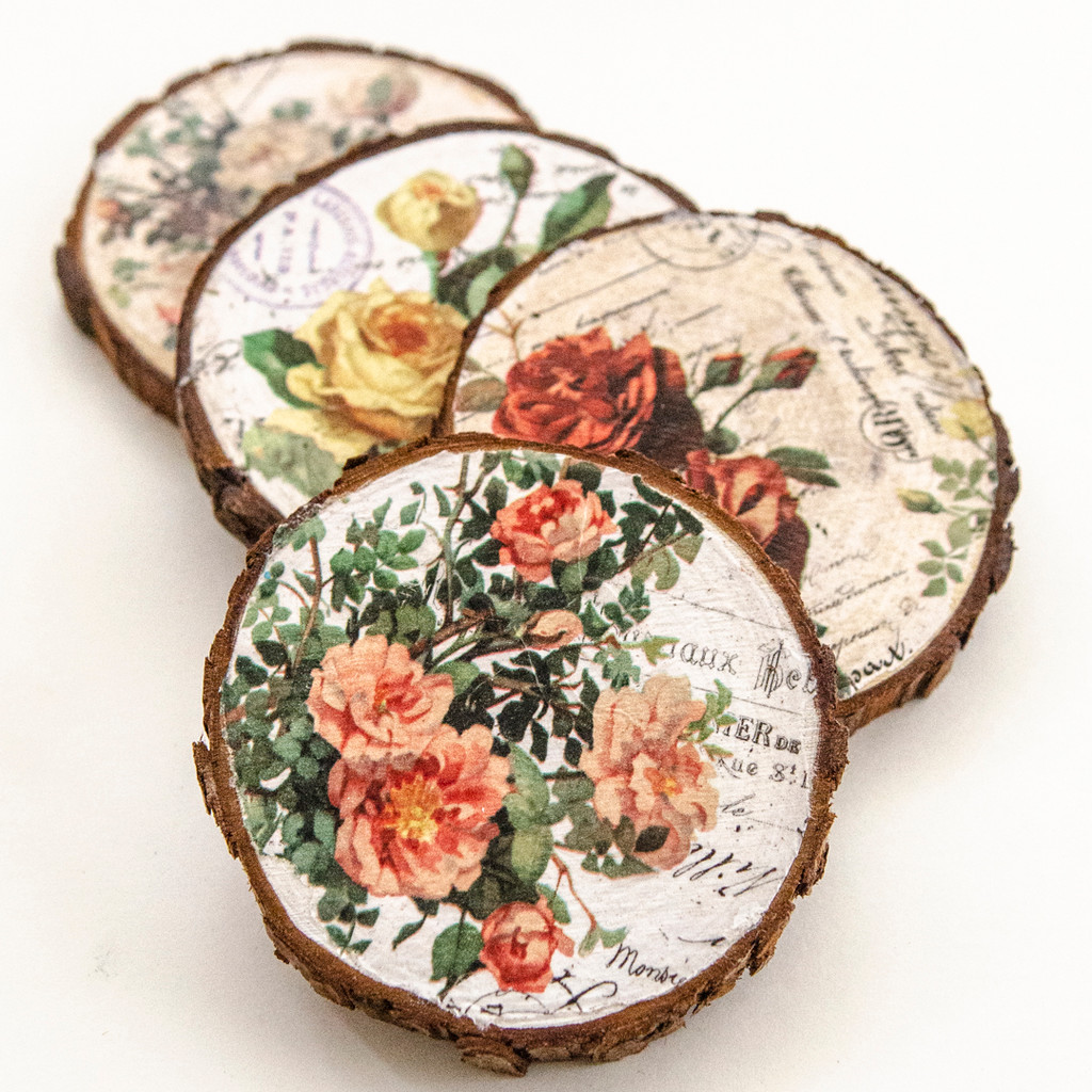 DIY Collage Paper Coasters Made From Wood Scraps
