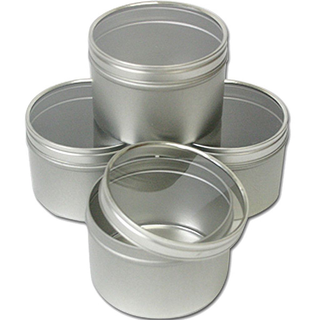 Clear Top Round Tins 12 oz — Set of 4