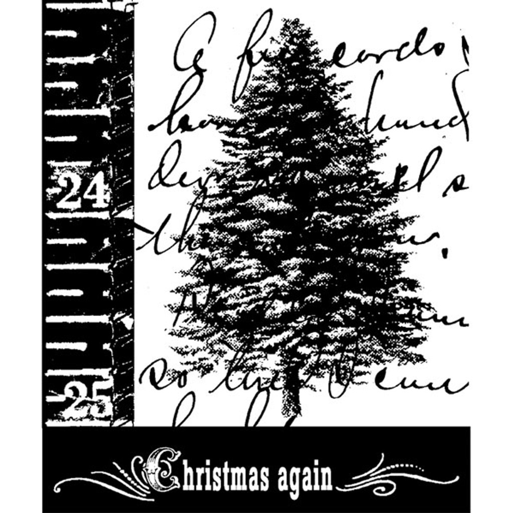 Scripted Tree Wood Mounted Stamp by Christine Adolph