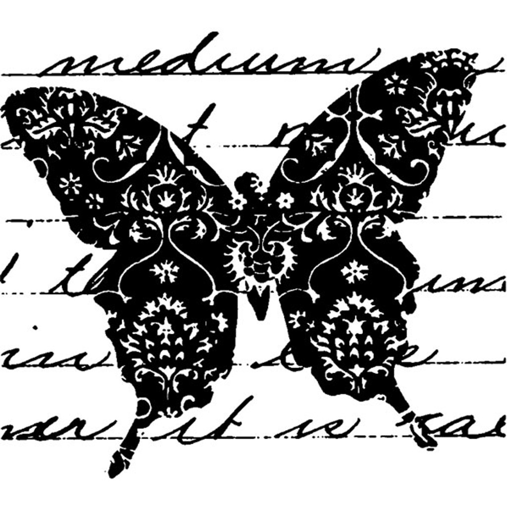 Butterfly Flourish Wood Mounted Stamp by Christine Adolph
