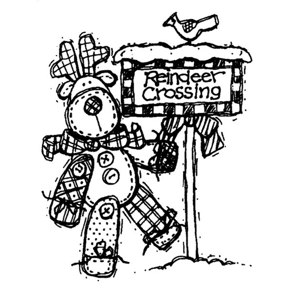 Reindeer Crossing — Small Wood Mounted Stamp by Karen Foster
